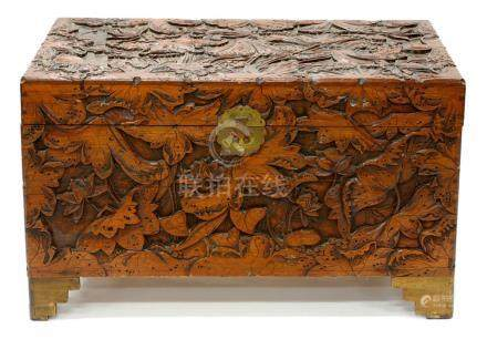 A CARVED CHINESE CAMPHOR WOOD CHEST, C1930, 58CM H; 102 X 50CM