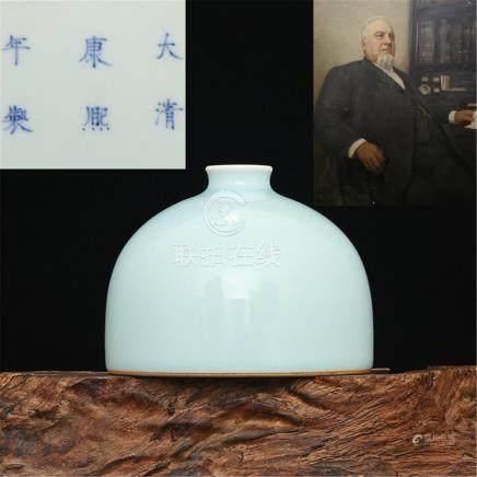 Qing Kangxi Bean Green Glaze Horseshoe Zhuang High 10.50CM C