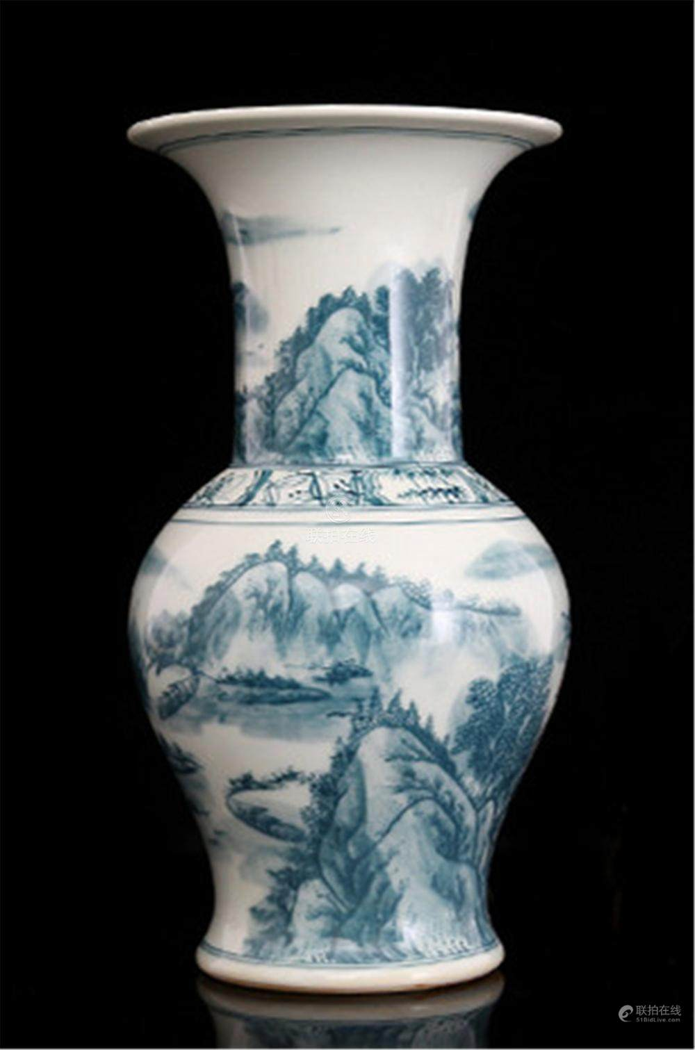 Qing Kangxi ink color mountain people winter melon bottle