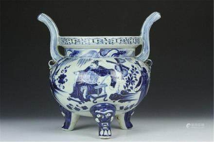 "China blue and white censer"""" Height 14 in."""
