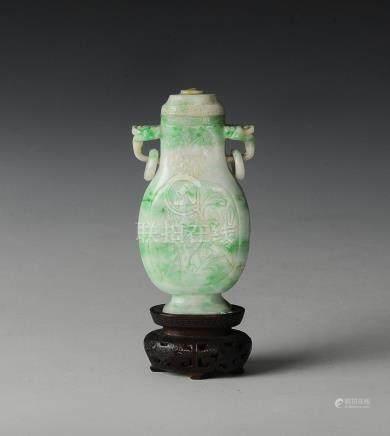 SMALL CHINESE JADEITE VASE, 19TH CENTURY