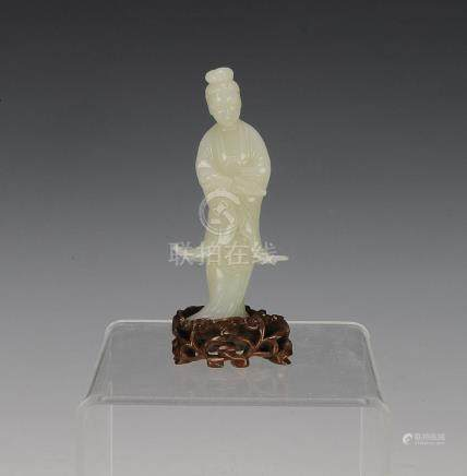 CHINESE WHITE JADE CARVING OF GUANYIN,19TH CENTURY