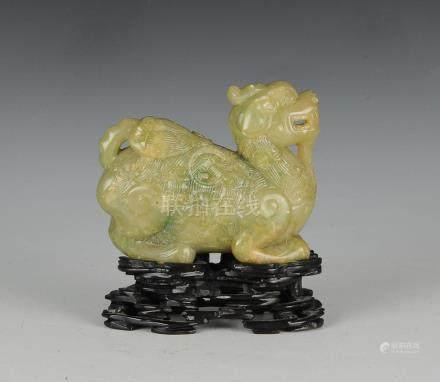 CHINESE JADE QILIN W/ STAND, 19TH CENTURY