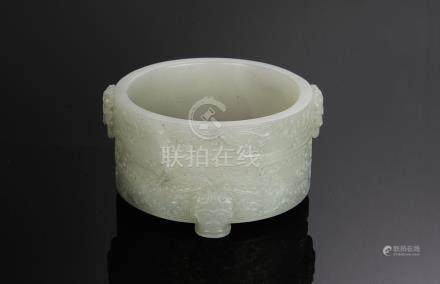 CHINESE WHITE JADE TRIPOD CENSER, 19TH CENTURY