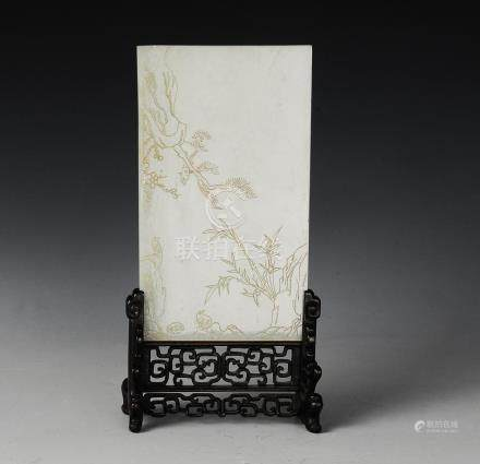 CHINESE WHITE JADE CARVED TABLE SCREEN, 19TH C.
