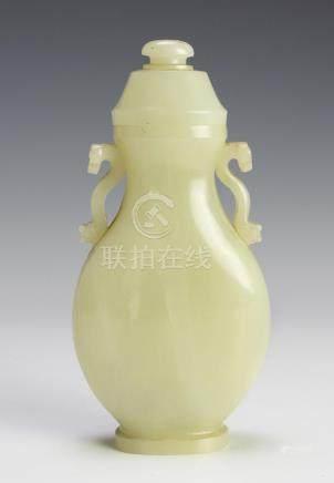 CHINESE WHITE JADE RUYI VASE, 18TH CENTURY