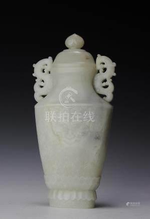 CHINESE LIDDED JADE VASE, 18TH CENTURY
