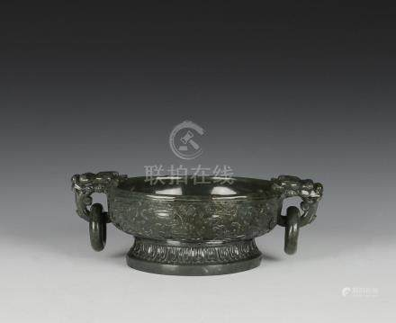CHINESE CARVED GREEN JADE BRUSH WASHER, 19TH C.