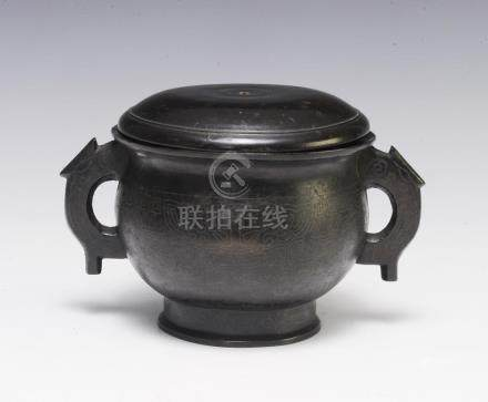 CHINESE BRONZE CENSER W/ SILVER INLAY, 19TH C.