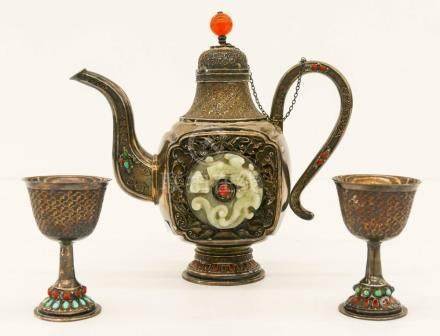 3pc Chinese Mongolian Silver & Jade Teapot with Stem Cups. I