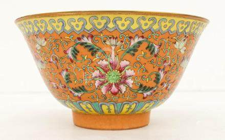Chinese Republic Famille Rose Bowl 4''x8''. A peach ground p
