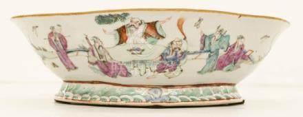 Chinese Tongzhi Foliate Porcelain Scholar Bowl 3''x10.5''. P
