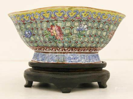 Chinese Tongzhi Foliate Porcelain Bowl on Stand 4.5''x7''. A