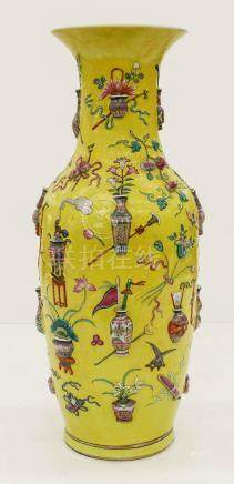 Chinese Precious Objects Famille Jaune Porcelain Vase 24''x1