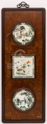 Impressive Chinese Famille Verte Porcelain Plaque Set Framed