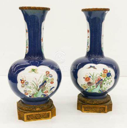 Pair Chinese Powder Blue Porcelain Vases with Ormolu Mounts
