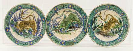 3pc Early Japanese Ko Kutani Tiger Plates 7.25'' Each. A gro