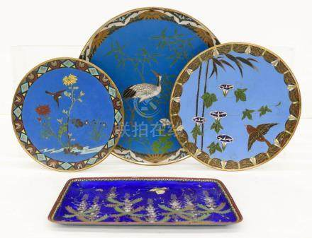 4pc Meiji Japanese Cloisonne Trays & Chargers. Includes a co