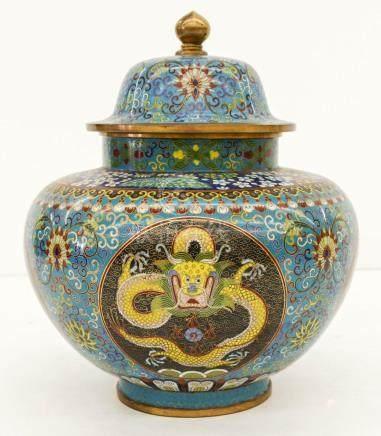 Fine Chinese Cloisonne Dragon Jar 11.5''x9.5''. An exception