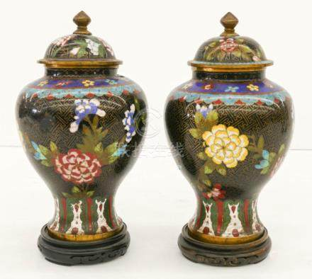 Pair Chinese Cloisonne Peony Jars 9''x5'' Each. A pair of po