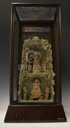 CHINESE GUANYIN LONGQUAN CELADON PORCELAIN SHRINE
