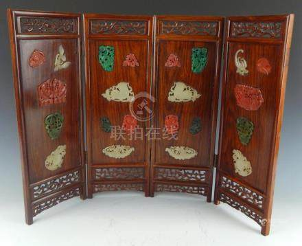 CHINESE JADE & MALACHITE INLAID ROSEWOOD SCREEN