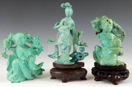 3 CHINESE CARVED TURQUOISE QUAN YIN FIGURES