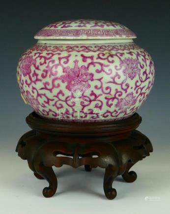 CHINESE QIANLONG CELADO & PINK COVERED JAR