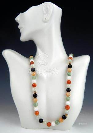 14K YG CHINESE MULTI JADEITE JADE BEADED NECKLACE