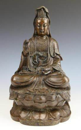 CHINESE BRONZE JEWELED SEATED QUAN YIN SCULPTURE