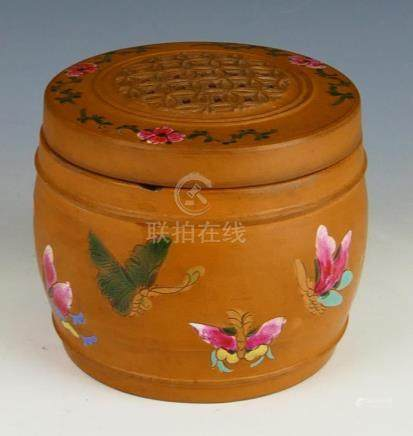 19th CHINESE POTTERY BUTTERFLIES INCENSE BURNER
