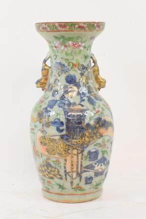 A Chinese celadon ground porcelain vase, with famille rose, underglaze blue and gilt decoration,