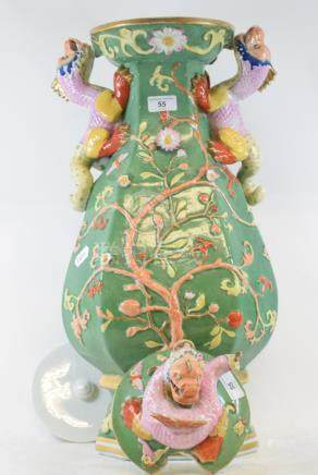An Ironstone China style vase and cover, with dragon handles, damages, loss and repairs, 67 cm high