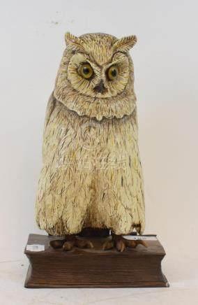 A painted metal book box, applied an owl, 25.5 cm high
