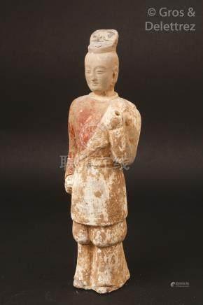 Chine, période Tang Mingqi en terre cuite et traces de pigment blanc et rouge,
