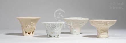 Chine, XVIII-XIXe siècle Quatre coupes libatoires en porcelaine blanc de Chine,