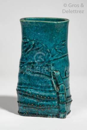 Chine, période Kangxi Porte-pinceaux bitong en porcelaine et émail turquoise re