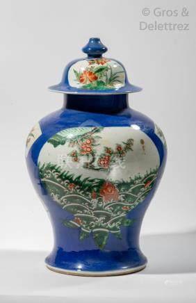 Chine, XIXe siècle Potiche balustre couverte en porcelaine et émail bleu poudré