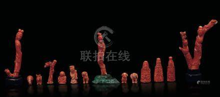 Fourteen coral figures, China, early 1900s