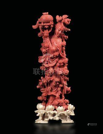 A coral group, China, Qing Dynasty, 1800s