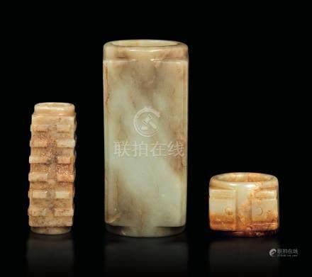 Three Cong jade vases, China, Han Dynasty