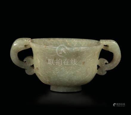 A jade cup, China, Qing Dynasty, Qianlong period