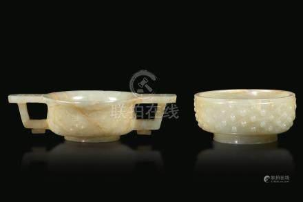 Two jade bowls, China, Qing D., Qianlong period