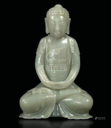 A white jade Amitayus, China, late 1800s
