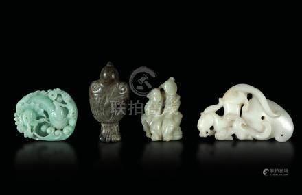 Four jade and jadeites, China, 18-1900s