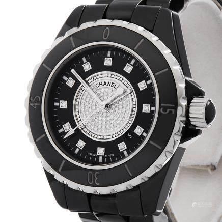 2009 Chanel J12 Diamond Black Ceramic - H2122