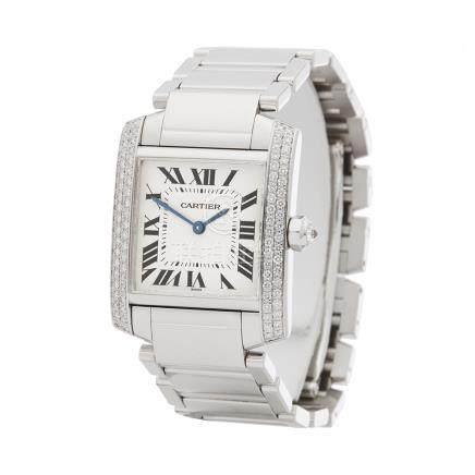 2000 Cartier Tank Francaise Diamond 18K White Gold - 2404MG