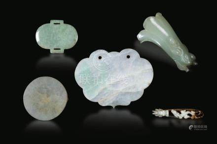 Five jade items, China, 17-1800s