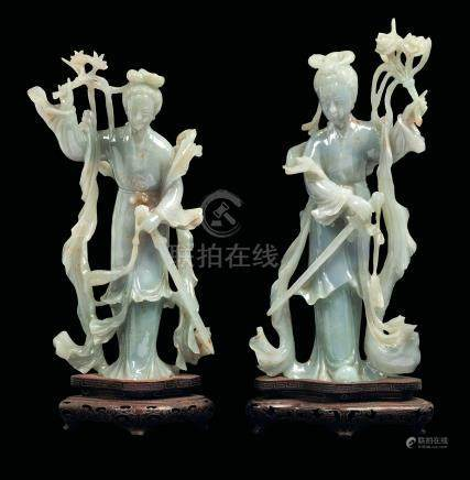 Two jadeite figures, China, Republic, 1900s