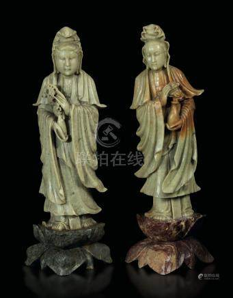 Two soapstone Guanyins, China, 1800s
